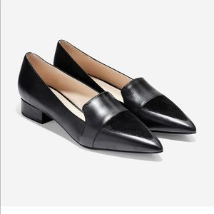 Cole Haan black flats with suede triangle size 9.5